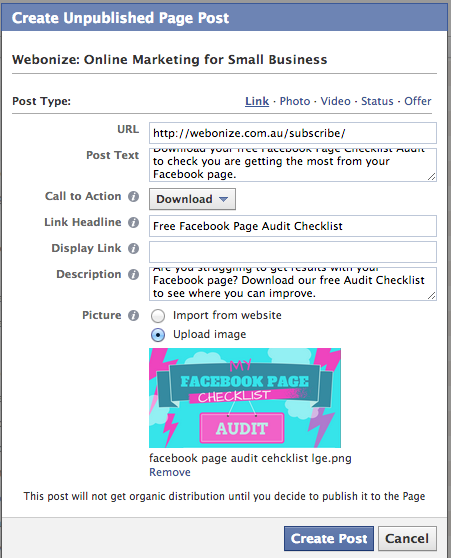 how to create an offer ad on facebook power editor