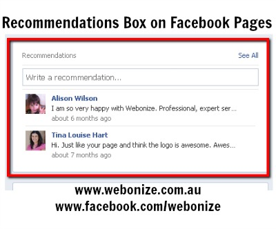 Using Recommendations On Your Facebook Page