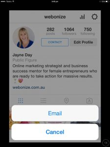 email from instagram business profile